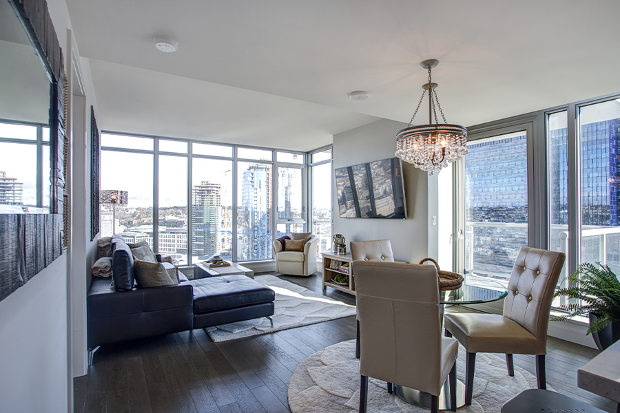 Specialized Business Insurance - Light Filled Family Room in a Modern Condo with Panoramic View of a Washington State City